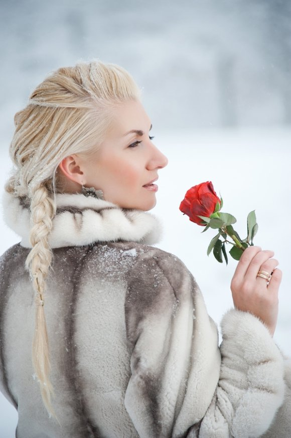 Wearing Fur Coat with Rose